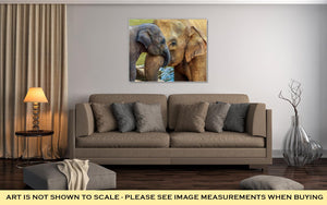 Gallery Wrapped Canvas, Elephant And Baby Elephant