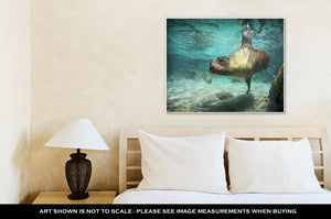 Gallery Wrapped Canvas, Sea Lion Swimming Underwater In Ocean