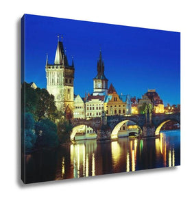 Gallery Wrapped Canvas, Charles Bridge In Sunset Time Prague Czech Republic