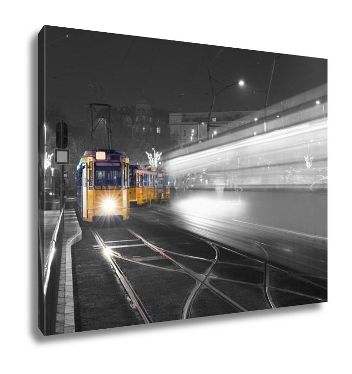 Gallery Wrapped Canvas, Traditional Budapest Old Tram City Center Budapest Black White