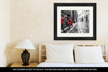 Load image into Gallery viewer, Framed Print, Retro Vintage Red Bike On Cobblestone Street In The Old Town Color In Black And