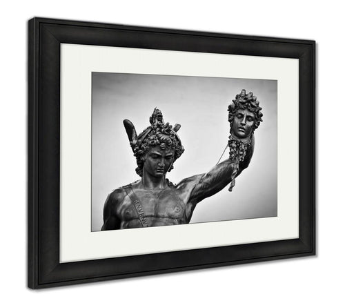 Framed Print, Ancient Style Sculpture Of Perseus With The Head Of MedUSA In Loggia Dei Lanzi