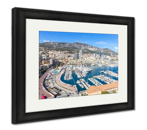 Framed Print, Monaco Monte Carlo Harbour French Riviera