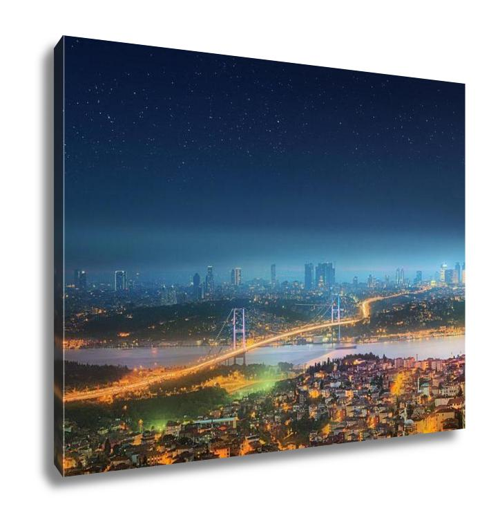 Gallery Wrapped Canvas, Panoramof Istanbul And Bosphorus Bridge At Night