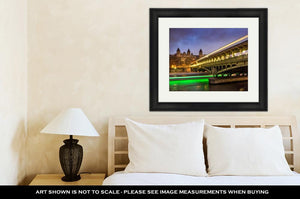 Framed Print, Paris Birhakeim Bridge Twilight Clouds Light Trails Boats On