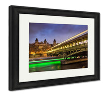 Load image into Gallery viewer, Framed Print, Paris Birhakeim Bridge Twilight Clouds Light Trails Boats On