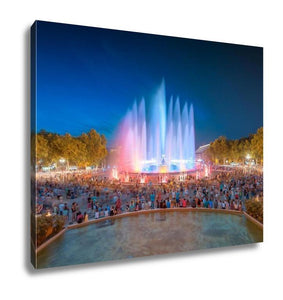 Gallery Wrapped Canvas, Night View Of Magic Fountain In Barcelona