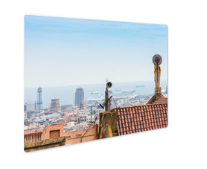 Metal Panel Print, Buildings Roofs In Barcelonspain