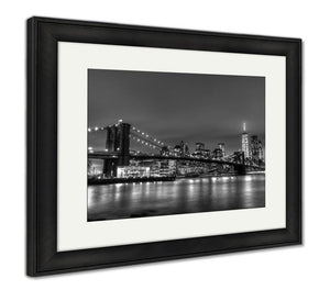 Framed Print, Brooklyn Bridge At Dusk New York City