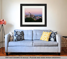 Load image into Gallery viewer, Framed Print, Seattle Skyline At Dusk