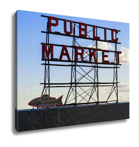 Gallery Wrapped Canvas, Seattle Public Market Center Sign Pike Place Market Seattle Wa USA