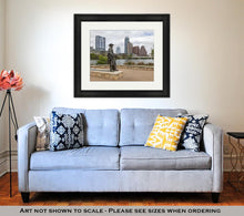 Load image into Gallery viewer, Framed Print, Status Of Stevie Ray Vaughan And Downtown Austin Texas