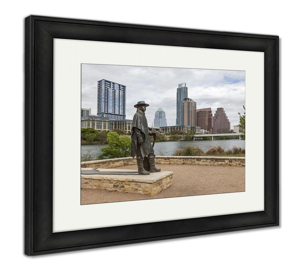 Framed Print, Status Of Stevie Ray Vaughan And Downtown Austin Texas