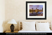 Load image into Gallery viewer, Framed Print, Austin Downtown Skyline By River At Night Texas