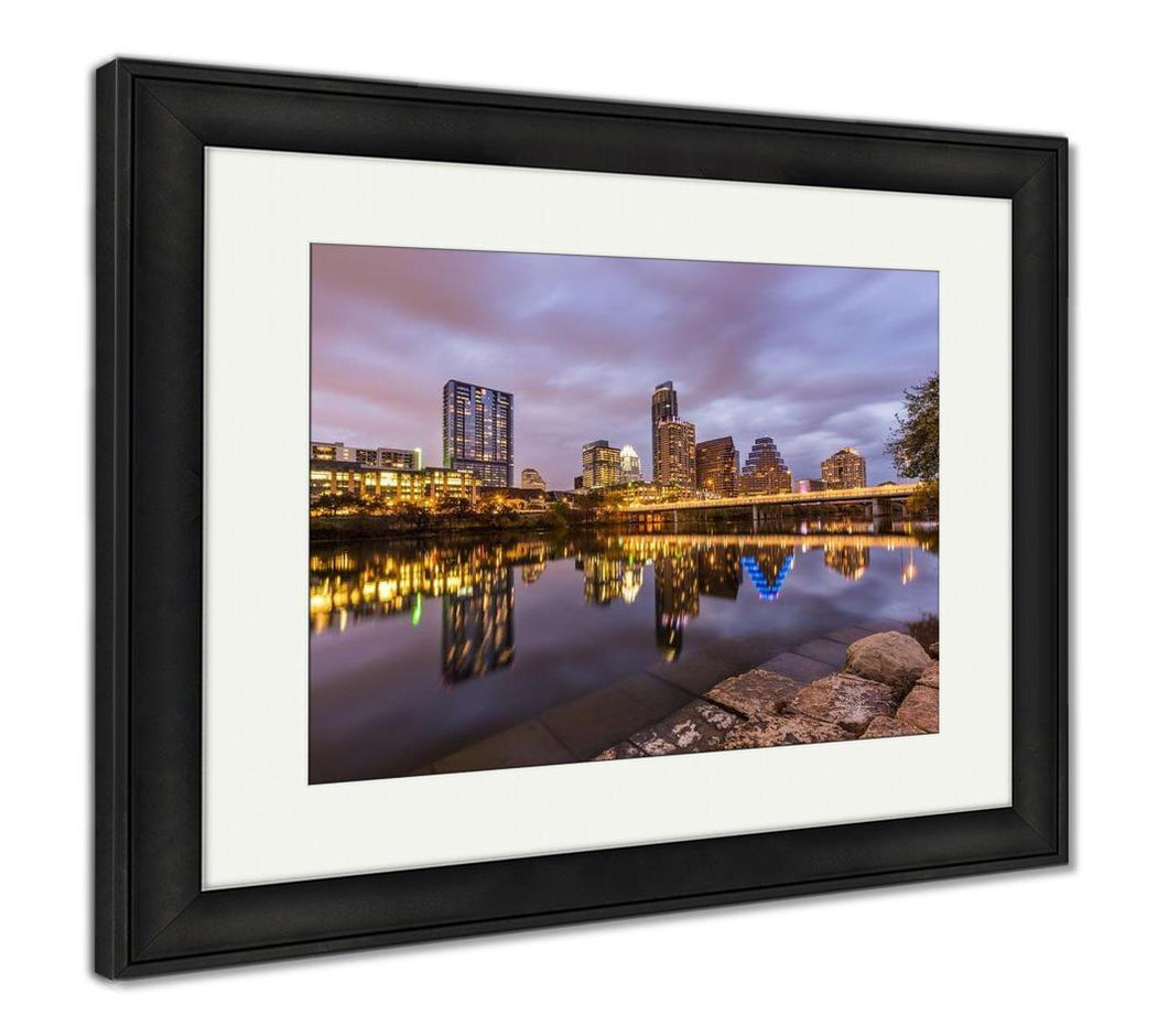 Framed Print, Austin Downtown Skyline By River At Night Texas