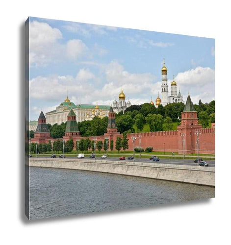 Gallery Wrapped Canvas, Kremlin Embankment Moscow View Moscow Kremlin From Moscow River