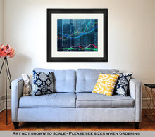 Load image into Gallery viewer, Framed Print, Forex Chart Over The Of The Skyscrapers Of The International Business Centre In