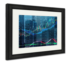 Framed Print, Forex Chart Over The Of The Skyscrapers Of The International Business Centre In