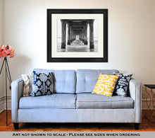 Load image into Gallery viewer, Framed Print, Under The Pier Black And White Photo Manhattan Beach California