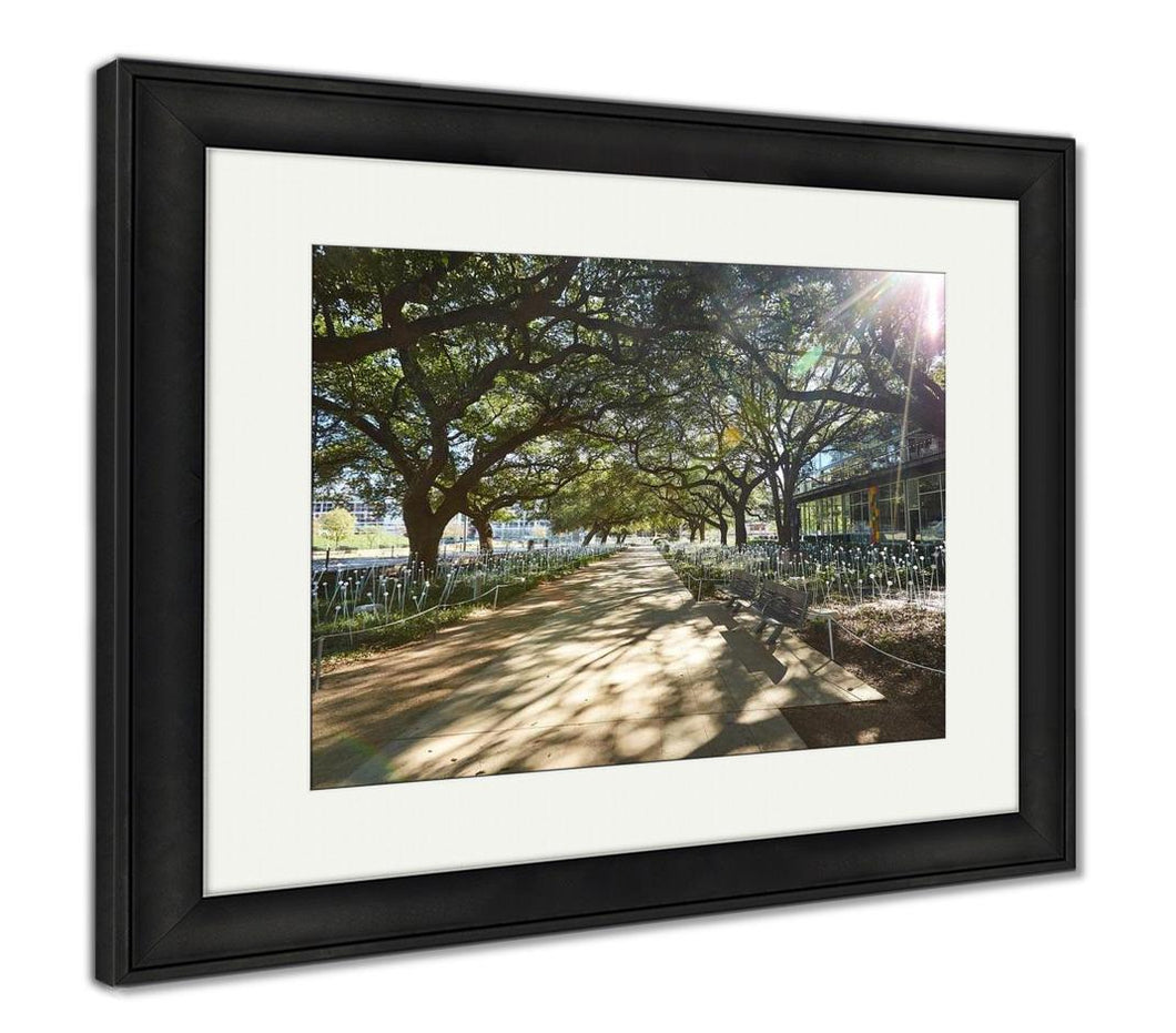Framed Print, Houston Discovery Green Park In Downtown Texas