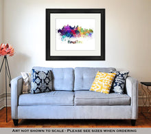 Load image into Gallery viewer, Framed Print, Houston Skyline In Watercolor