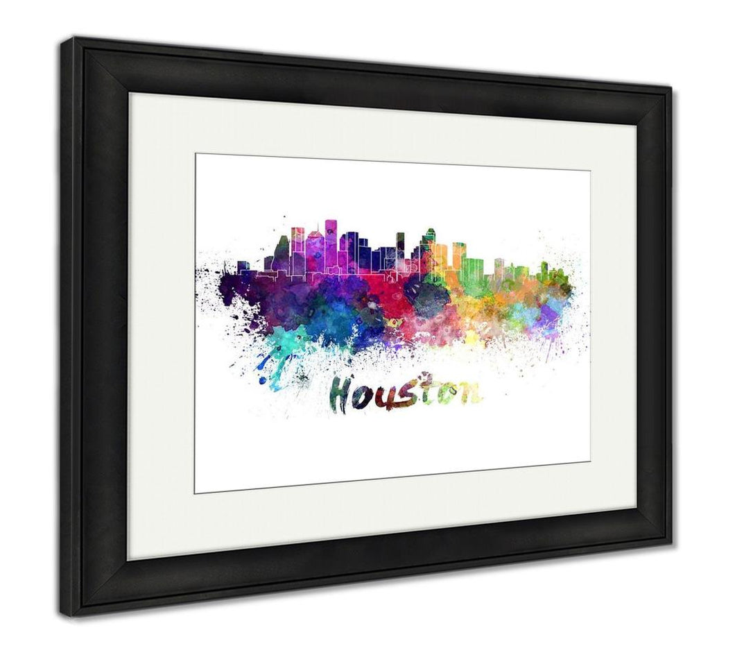 Framed Print, Houston Skyline In Watercolor