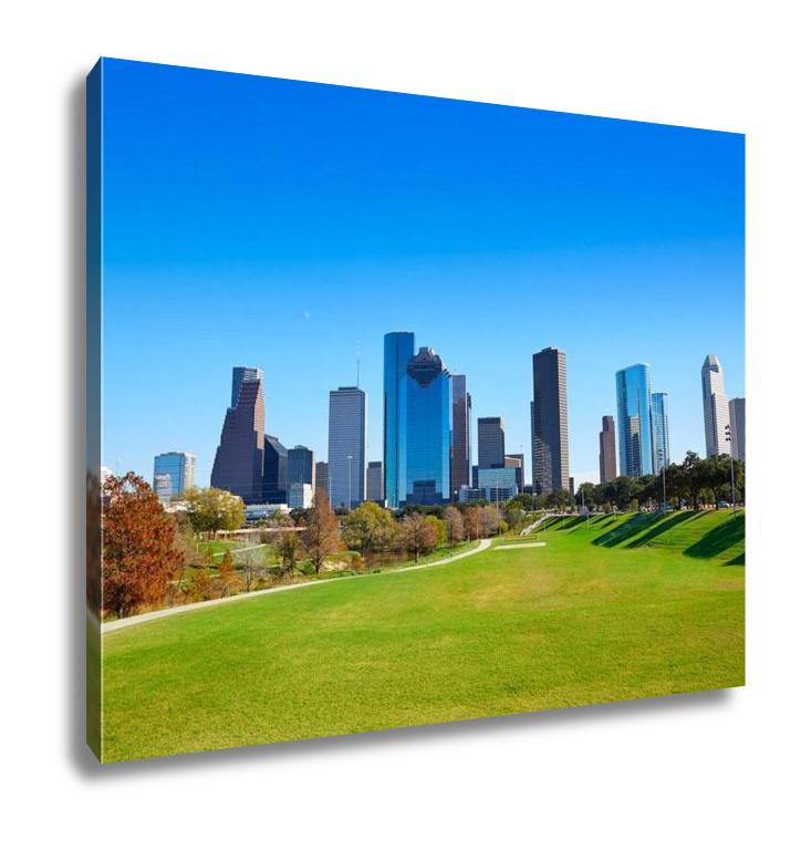 Gallery Wrapped Canvas, Houston Skyline In Sunny Day From Park Grass Of Texas USA