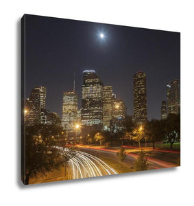 Gallery Wrapped Canvas, Houston Skyline At Night Texas