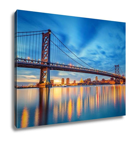 Gallery Wrapped Canvas, Ben Franklin Bridge In Philadelphiat Sunset