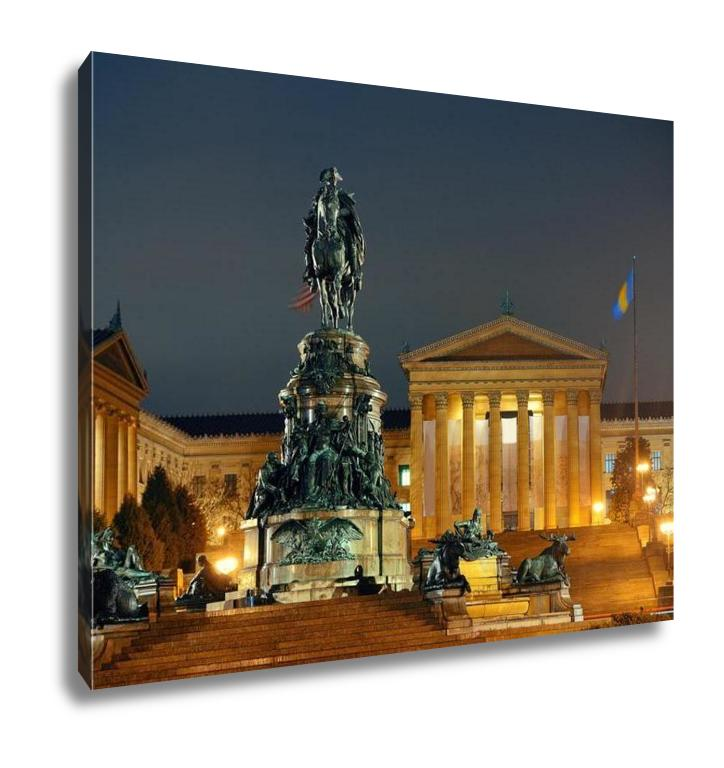 Gallery Wrapped Canvas, Philadelphiart Museum At Night As Famous City Attractions
