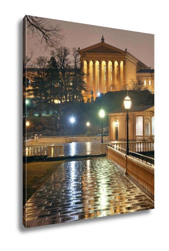 Gallery Wrapped Canvas, Philadelphia Art Museum At Night As The Famous City Attractions