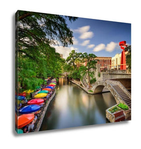 Gallery Wrapped Canvas, San Antonio Texas Uscityscape At Riverwalk