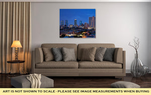Gallery Wrapped Canvas, Dallas Fort Worth Texas At Night