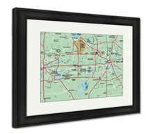 Load image into Gallery viewer, Framed Print, Dallas Fort Worth Metropolitan Area Map