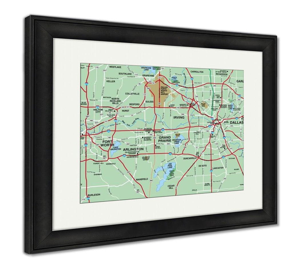 Framed Print, Dallas Fort Worth Metropolitan Area Map
