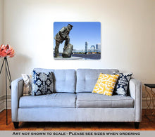Load image into Gallery viewer, Metal Panel Print, Jacksonville Floridskyline Sailor Sculpture Along St Johns River