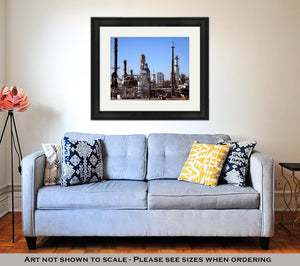 Framed Print, Gas And Oil Refinery Plant Complex Near Detroit