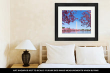 Load image into Gallery viewer, Framed Print, Washington Dc Cherry Blossom With Lake And Washington Monument
