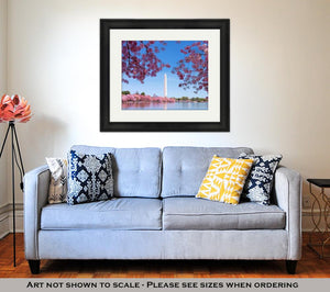 Framed Print, Washington Dc Cherry Blossom With Lake And Washington Monument