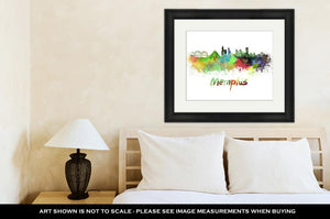 Framed Print, Memphis Skyline In Watercolor