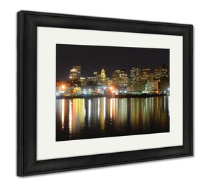 Framed Print, Boston Skyline At Night Massachusetts USA