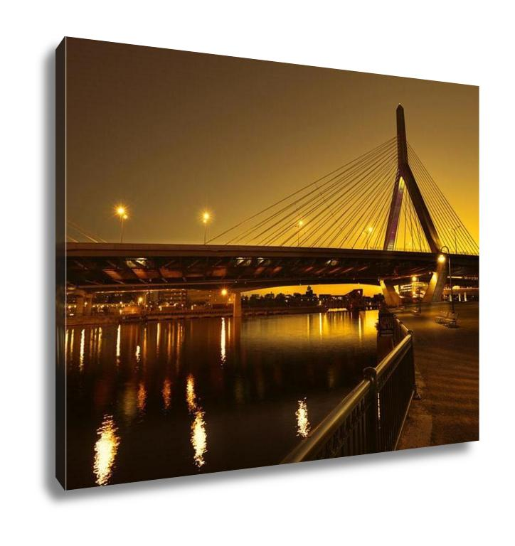 Gallery Wrapped Canvas, Boston Zakim Bridge Sunset In Bunker Hill Massachusetts USA