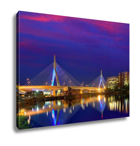 Gallery Wrapped Canvas, Boston Zakim Bridge Sunset Bunker Hill Massachusetts USA