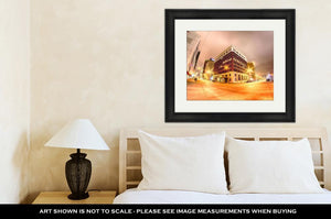 Framed Print, Oklahomcity Tulscity Skyline Around Downtown Streets
