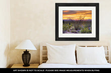 Load image into Gallery viewer, Framed Print, Sonoran Desert Catching Days Last Rays Near Tucson