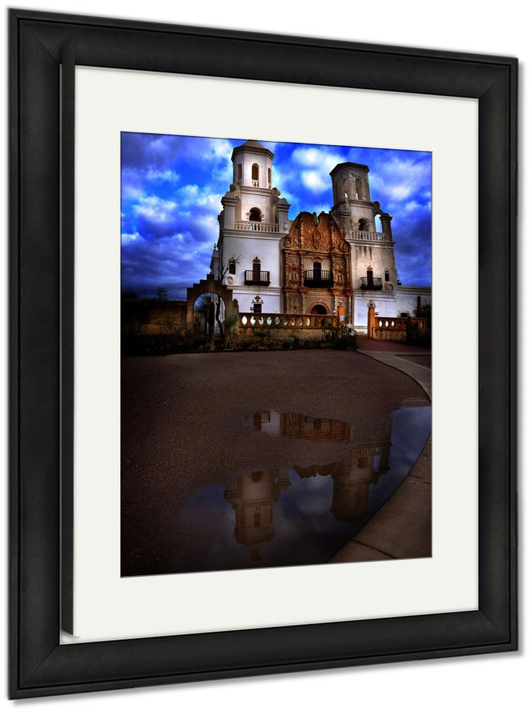Framed Print, San Xavier Mission In Tucson Arizona Christian Church With Cross