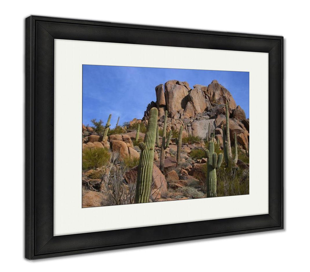 Framed Print, Desert Scenic With Big Boulder