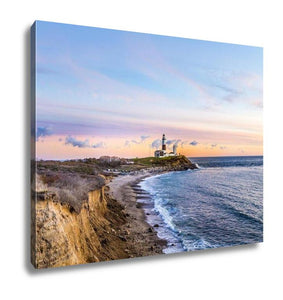 Gallery Wrapped Canvas, Long Beach MontaUK Point Light Lighthouse Long Island New York