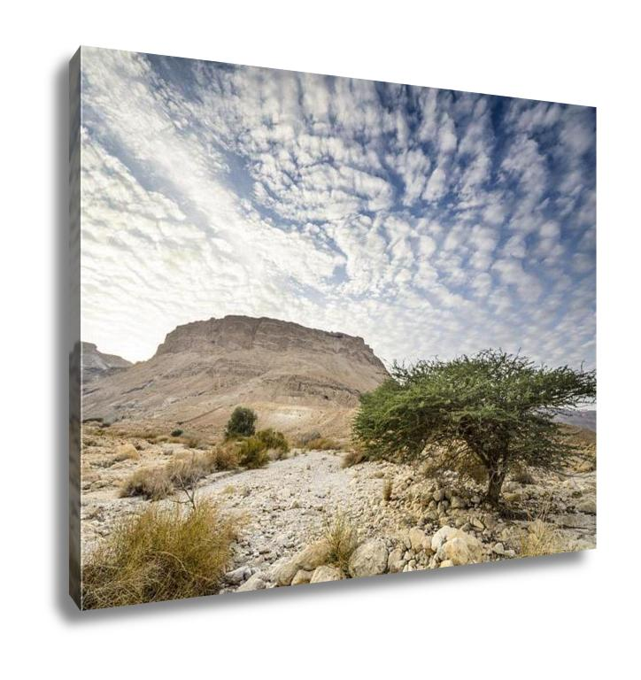 Gallery Wrapped Canvas, Masada Israel Ancient Rock Plateau Fortress In The Judaean Desert