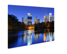 Load image into Gallery viewer, Metal Panel Print, Downtown Atlantgeorgiskyline From Piedmont Parks Lake Meer